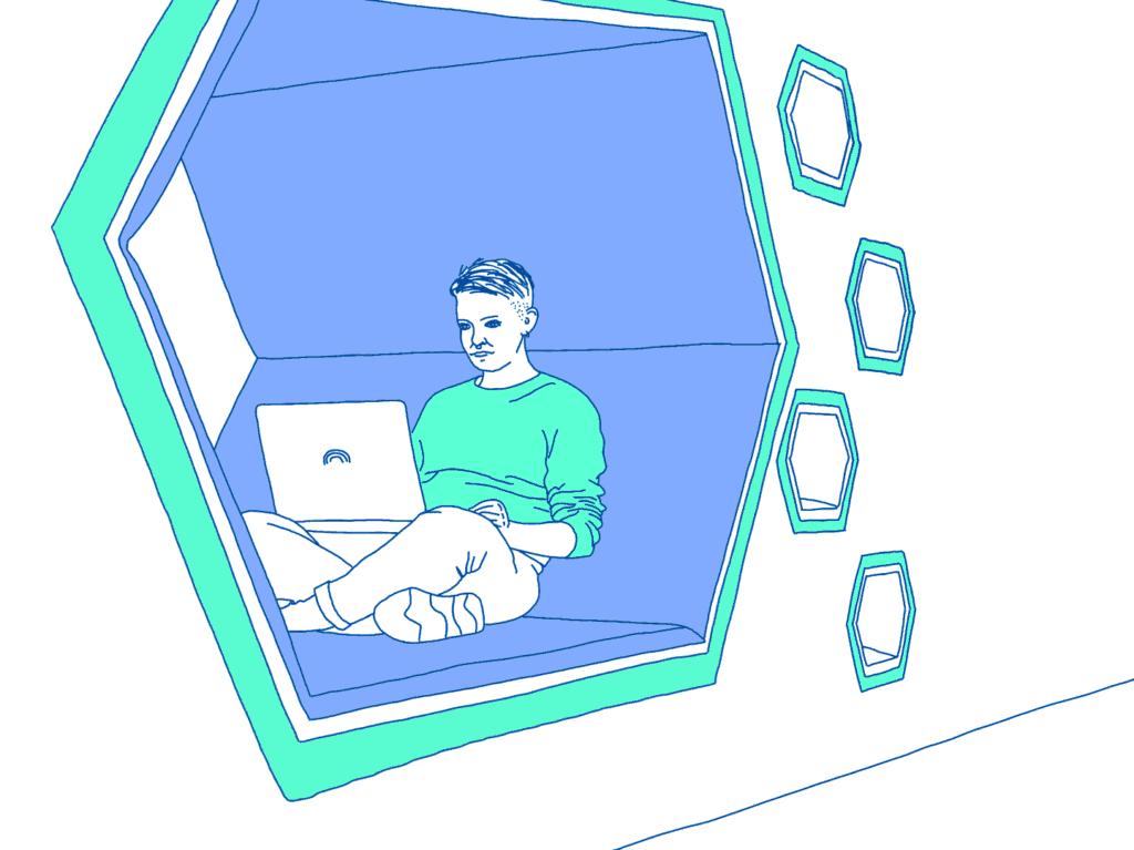 Illustration von Maria, wie sie am Laptop arbeitet