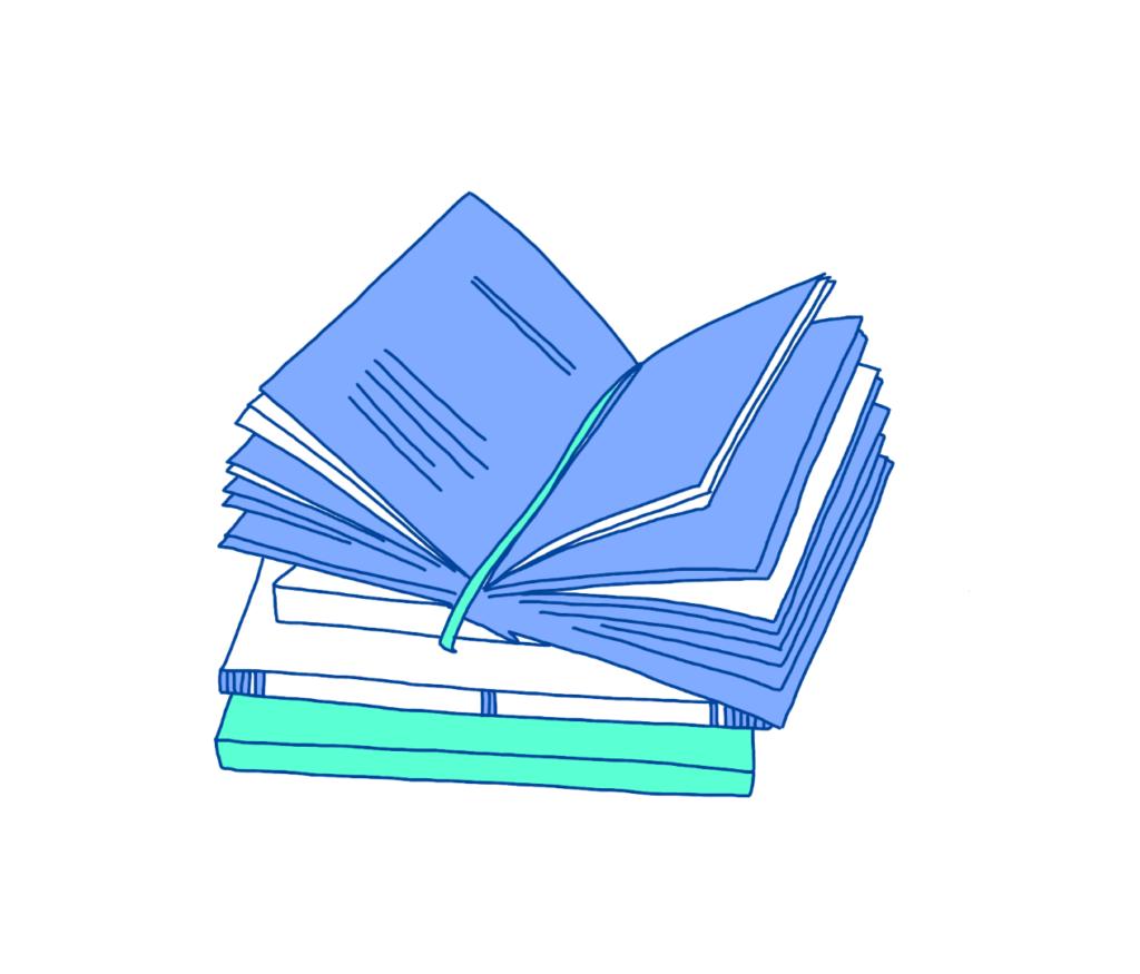 Illustration von Büchern - Glossar für Webdesign und SEO