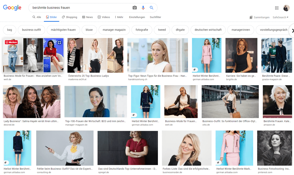 """Screenshot einer Google Bildersuche nach """"Berühmte Business Frauen"""""""